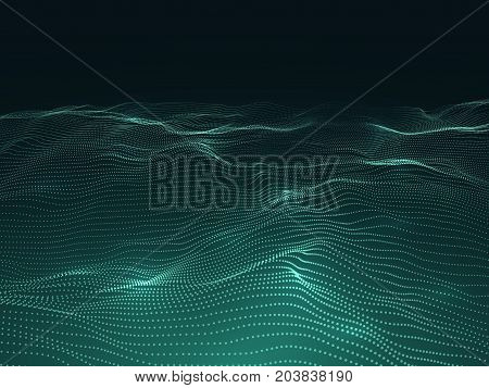 Digital background with wavy surface. 3d futuristic landscape with particles. Sound waves data vector concept. Futuristic flow surface layer illustration