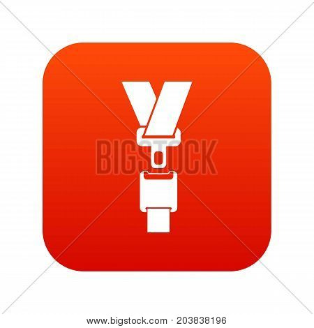 Safety belt icon digital red for any design isolated on white vector illustration