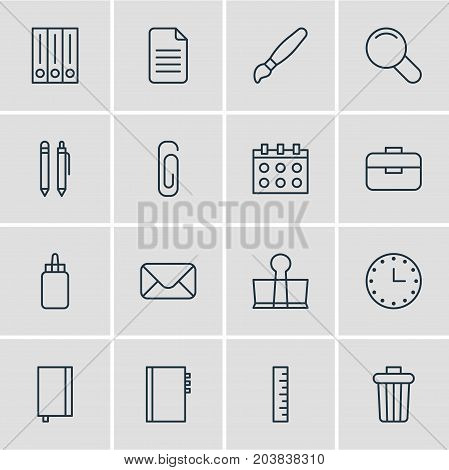 Editable Pack Of Paint, Letter, Date And Other Elements.  Vector Illustration Of 16 Stationery Icons.