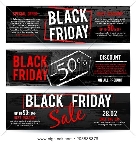 Black Friday sale horizontal advertising vector banners with black and red distressed brush texture. Sale and black friday card, banner illustration