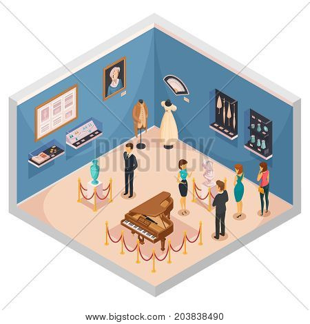 People viewing museum exhibits isometric composition with guide conducting excursion on theme of historical fashion and interior items vector illustration