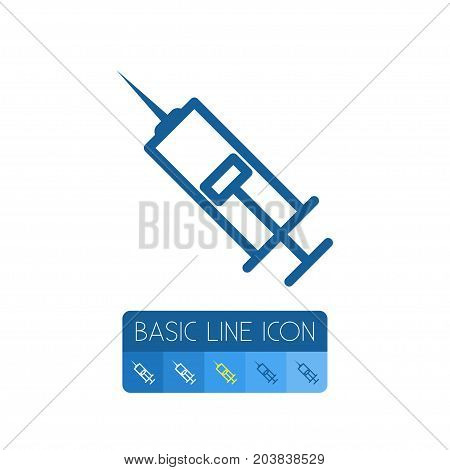 Injection Vector Element Can Be Used For Injection, Vaccination, Antibiotic Design Concept.  Isolated Syringe Outline.