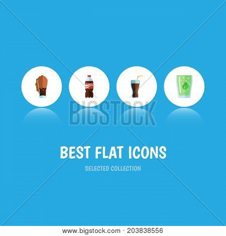 Flat Icon Beverage Set Of Cup, Fizzy Drink, Soda And Other Vector Objects
