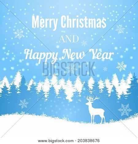 Silhouette of Christmas deer on winter forest background. Wintertime and christmas forest tree with mammal. Vector illustration