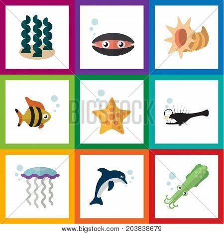 Flat Icon Sea Set Of Scallop, Seafood, Fish And Other Vector Objects