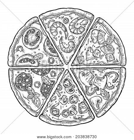 Set slice pizza Pepperoni Hawaiian Margherita Mexican Seafood Capricciosa. Vintage vector engraving illustration for poster menu box. Isolated on white background