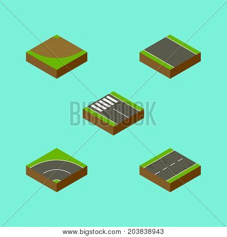 Isometric Road Set Of Strip, Without Strip, Cracks And Other Vector Objects