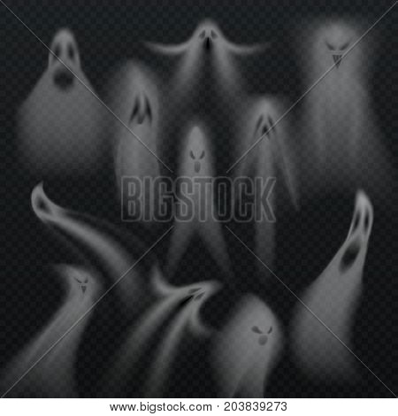 Spooky transparent halloween ghost isolated vector set. Horro evil demon souls