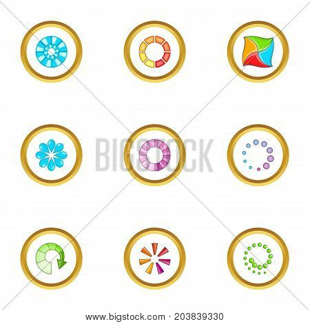 Circular downloading icons set. Cartoon set of 9 circular downloading vector icons for web isolated on white background