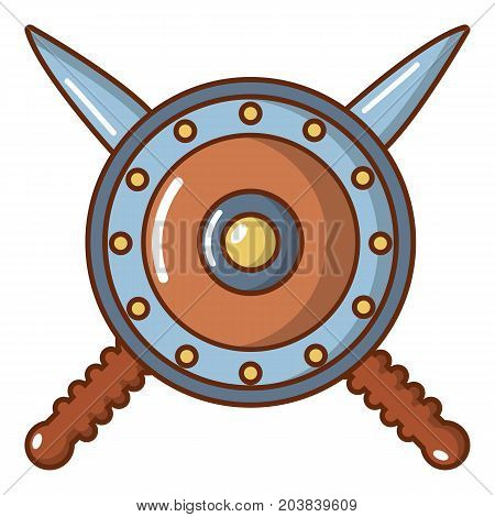 Shield and swords icon. Cartoon illustration of shield and swords vector icon for web