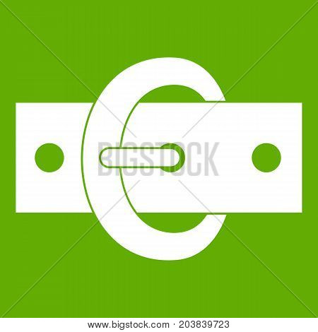 Buckle belt icon white isolated on green background. Vector illustration