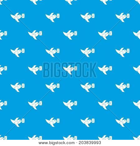 Pigeon fly with mail pattern repeat seamless in blue color for any design. Vector geometric illustration