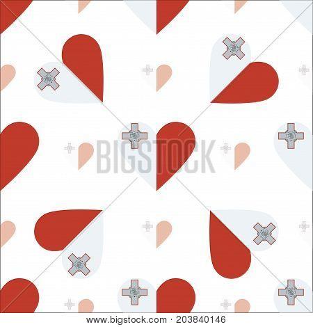 Malta Flag Patriotic Seamless Pattern. National Flag In The Shape Of Heart. Vector Illustration.