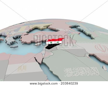 Political Map Of Syria On Globe With Flag