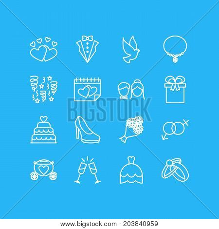 Editable Pack Of Decoration, Bridal Bouquet, Calendar And Other Elements.  Vector Illustration Of 16 Marriage Icons.