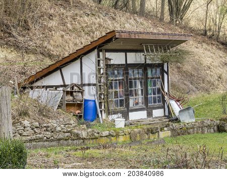 idyllic agricultural scenery with utility shed in Hohenlohe in Southern Germany
