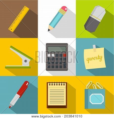 Stationery related icon set. Flat style set of 9 stationery related vector icons for web design