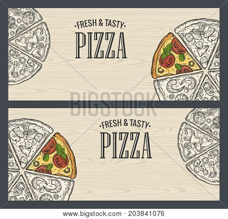 Horizontal poster with monochrome and colorful slice pizza Pepperoni Hawaiian Margherita Mexican Seafood Capricciosa. Vintage vector engraving illustration. For menu box. Isolated on seamless pattern wood background