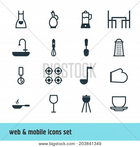 Editable Pack Of Oven Mitts, Furnace, Fruit Squeezer And Other Elements.  Vector Illustration Of 16 Kitchenware Icons.