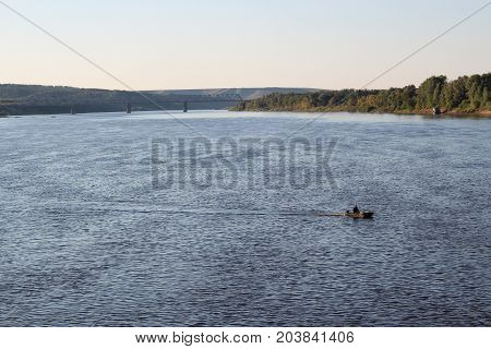 Blue Calm River In Summer