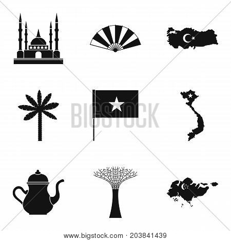 Muslim icons set. Simple set of 9 muslim vector icons for web isolated on white background