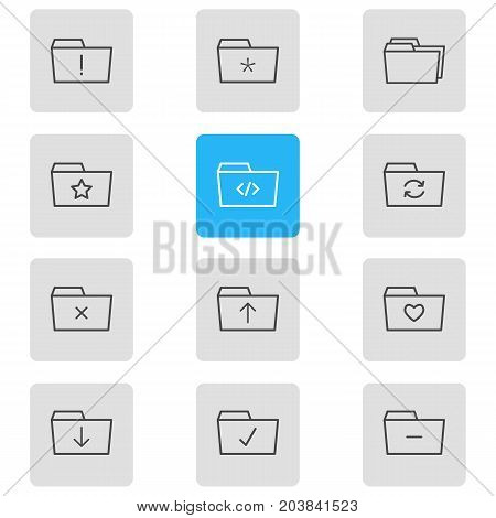 Editable Pack Of Upload, Pinned, Folders And Other Elements.  Vector Illustration Of 12 Folder Icons.