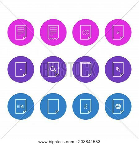 Editable Pack Of Percent, Style, Internet And Other Elements.  Vector Illustration Of 12 Document Icons.