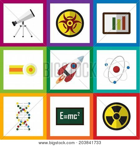 Flat Icon Study Set Of Danger, Theory Of Relativity, Orbit And Other Vector Objects