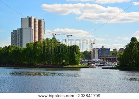 Khimki, Russia - May 30.2017 An Eco-friendly Levoberezhny district