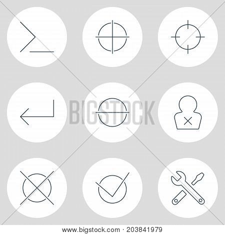 Editable Pack Of Remove, Banned Member, Maintenance And Other Elements.  Vector Illustration Of 9 User Icons.