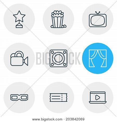 Editable Pack Of Reward, Loudspeaker, Spectacles And Other Elements.  Vector Illustration Of 9 Movie Icons.