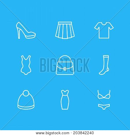 Editable Pack Of Hosiery, Swimsuit, Handbag Elements.  Vector Illustration Of 9 Clothes Icons.