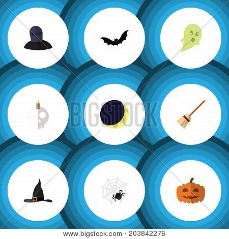 Flat Icon Halloween Set Of Spinner, Witch Cap, Cranium And Other Vector Objects