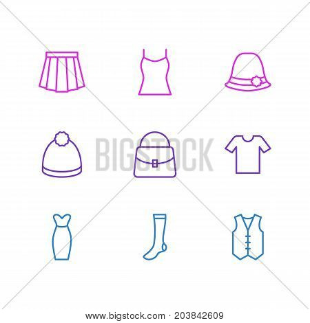 Editable Pack Of Apparel, Pompom, Panama And Other Elements.  Vector Illustration Of 9 Garment Icons.