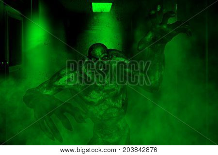 3d illustration of scary monster in haunted housemixed media