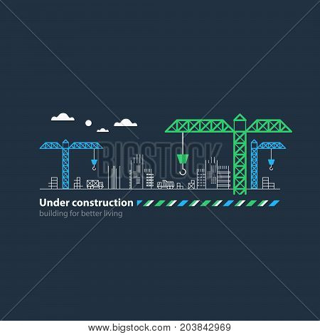 Building houses concept, realty investment, real estate growth, construction site cranes, horizontal bar. Flat design vector illustration