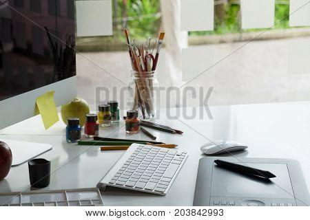 Graphic Design Studio creativity Ideas modern office workplace.