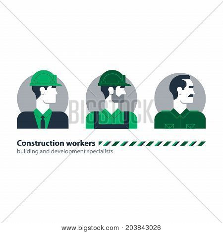 Male character turned head. Man in helmet. Labor force people icons. Construction workers. Flat design vector illustration