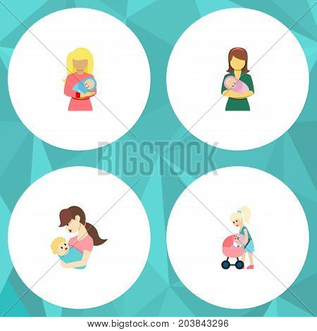 Flat Icon Mam Set Of Woman, Mother, Child And Other Vector Objects