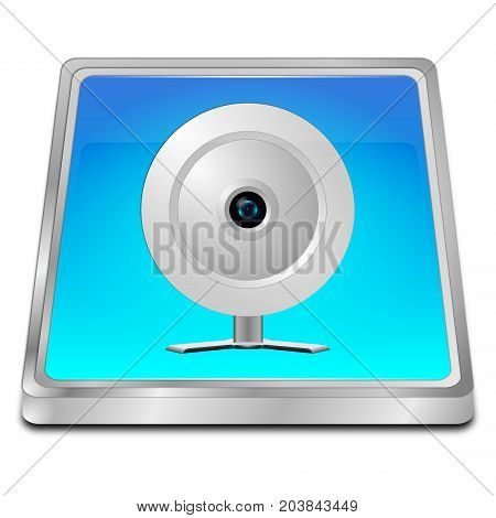 glossy blue Button with Webcam - 3D illustration
