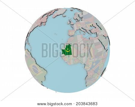 Mauritania With Flag On Globe
