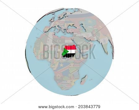 Sudan With Flag On Globe