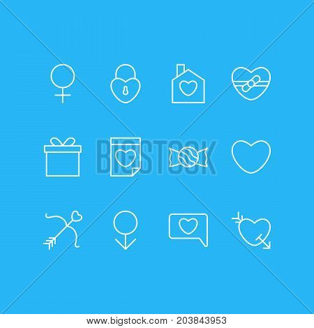 Editable Pack Of Messenger, Cupid, Woman And Other Elements.  Vector Illustration Of 12 Passion Icons.