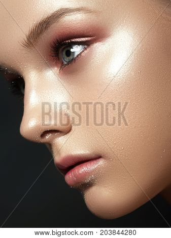 Beautiful Young Woman With Perfect Clean Shiny Skin, Natural Fashion Makeup. Close-up Woman, Fresh S