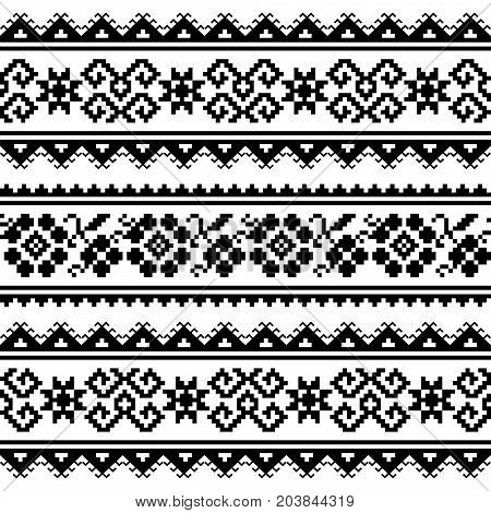 Ukrainian or Belarusian folk art embroidery pattern or print in black and white