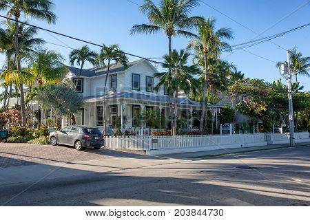 KEY WEST, FLORIDA USA - JANUARY 18, 2017: Small private hotel in the historic and popular downtown Key West.