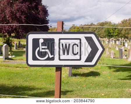 Close Up Of Wc Sign Direction Disabled Sign Symbol Black And White