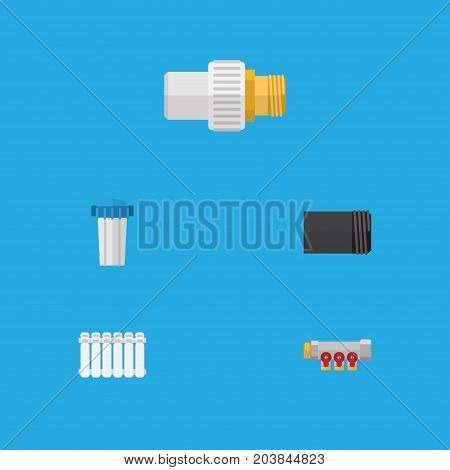 Flat Icon Pipeline Set Of Tube, Water Filter, Radiator And Other Vector Objects