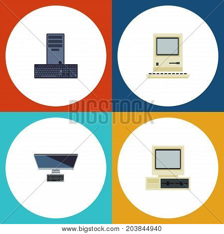 Flat Icon Laptop Set Of PC, Computer, Processor And Other Vector Objects