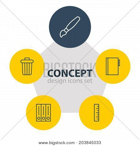 Editable Pack Of Meter, Archive, Garbage Container And Other Elements.  Vector Illustration Of 5 Instruments Icons.